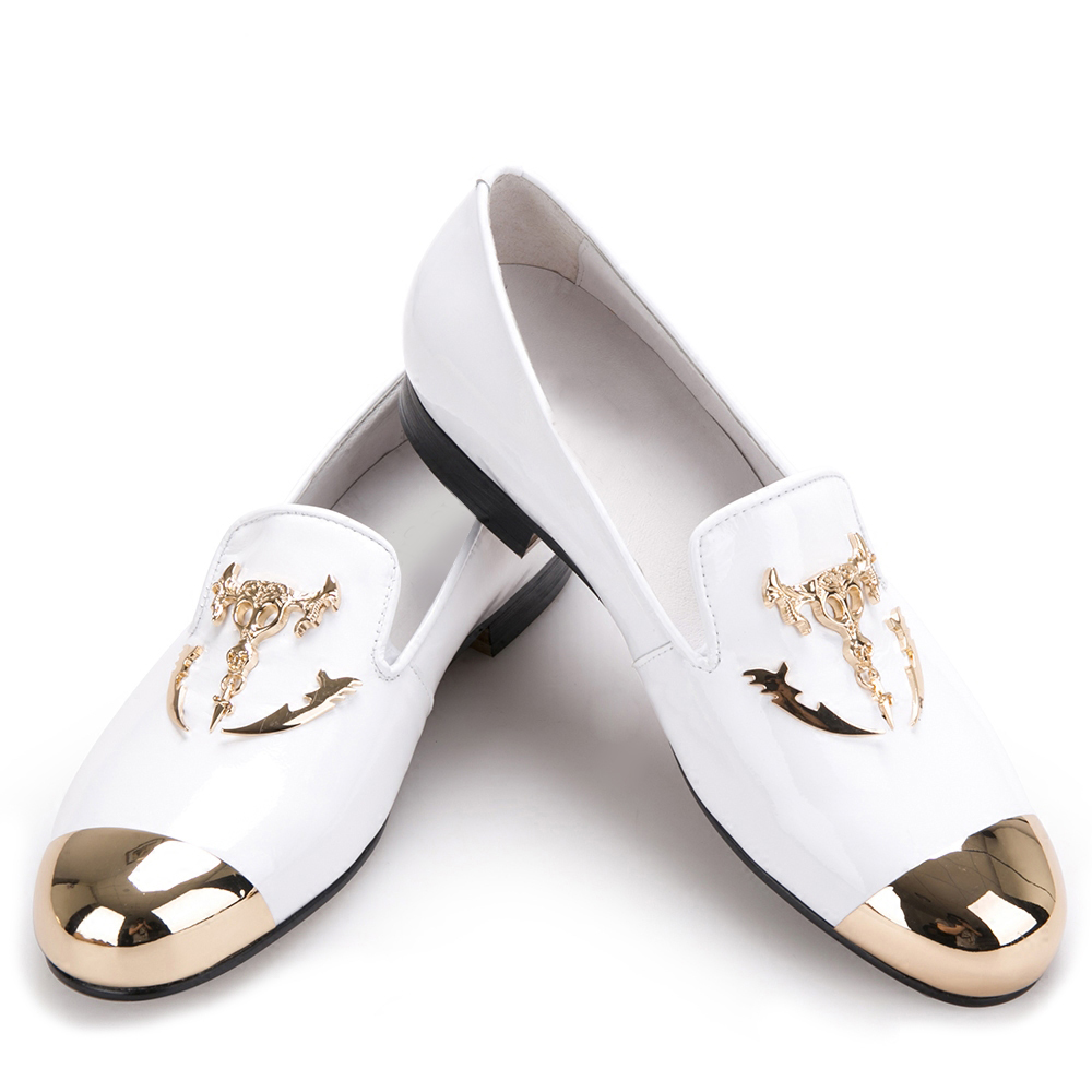 Metal Toe and Metal Skull buckle Men Patent leather casual shoes Men party and wedding Loafers Men's Flats italy fashion design bright face buckle and gold metal toe men genuine leather shoes men casual flats party wedding men loafers