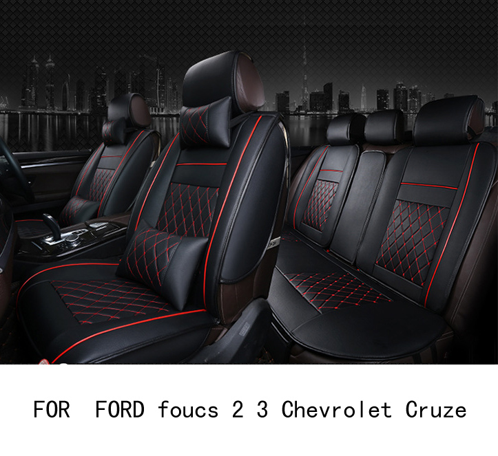 OUZHI easy clean firm grid pu leather car seat cover for FORD foucs 2 3 Chevrolet Cruze front rear universal seat covers ouzhi for ford focus 2 3 mondeo fiesta f150 orange brown brand designer luxury pu leather front