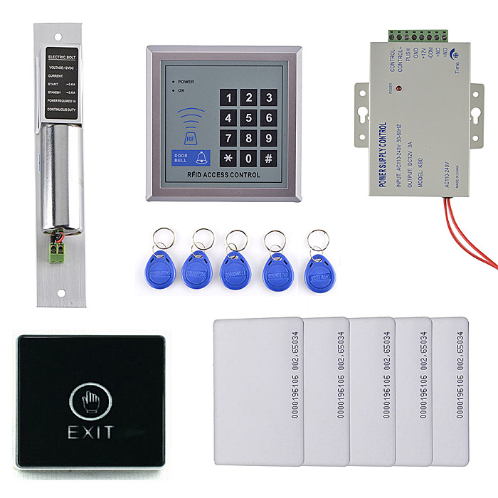 No Touch Button +Electric Bolt Lock+Power+Diy Full Complete Rfid Door Lock Access Control Keypad Kit For Home Security fcl 300a wooden glass anti fire bi directional door 500 000 times reliable power on lock electric bolt lock