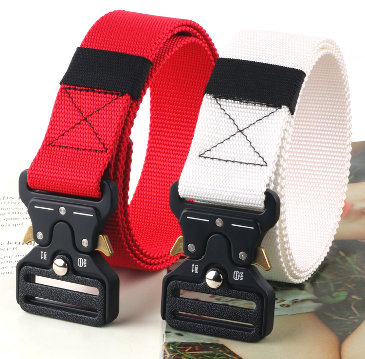 3.8CM  Men Belt Nylon Tactical Army Belt Trousers Metal Buckle Canvas Belts Outdoor Training Camouflage Red Military Waist Belt