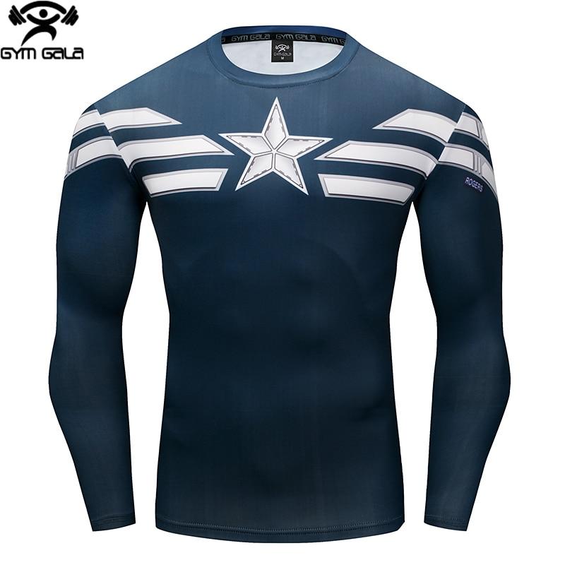 New Comic Superhero Compression Shirt Captain America Iron man Fit Tight Bodybuilding T Shirt