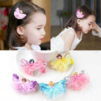 цена на 5pcs/set Cute Children Hair Clip Hair Accessories Headwear Baby Princess Flower Bow Kids Girls Hairpins Full Cover Clips