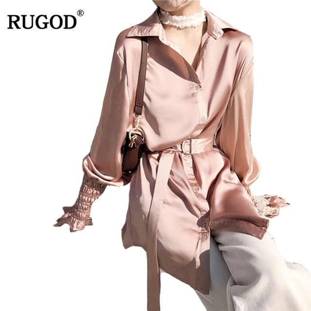 4ac448c3bd9dcb RUGOD Women Tops and Blouse 2018 Spring Summer Fashion Long Lantern Sleeve  Satin Blusa Femme Casual
