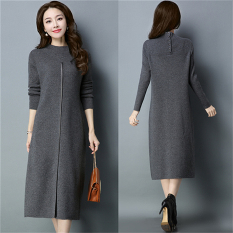 2019 NEW Autumn Winter Knitted Sweater Dress Women Elegant Long Sleeve Slim  Plus Size Pullover Bodycon Sweater Long Dresses X23