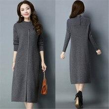 2019 nuevo Otoño Invierno suéter de punto mujer elegante vestido de manga larga delgado más tamaño suéter Bodycon vestidos largos X23