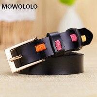 Female Belt Cummerbund Women Belt With Manual Sewing Pattern Metal Buckle Women Leather Belt 110 CM