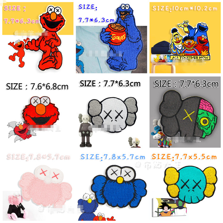 Set Of 9 Pcs Sesame Street Elmo Cookie Bird Logo Rock Band Patches For Clothing Embroidered Patch For Backpacks For Jeans