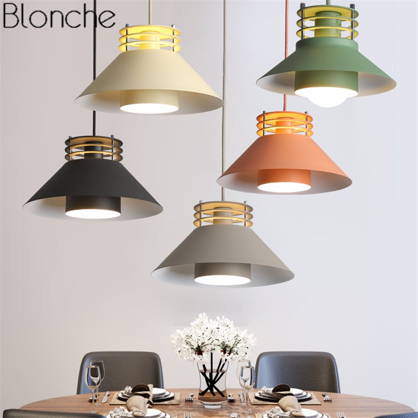 Nordic Colorful Pendant Lights Macaron Lampshade Hanging Lamp Led Loft Hanglamp for Dining Room Kitchen Home Light Fixtures Deco