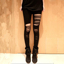 Summer Sexy Torn Ripped Hole Ninth Pant Leggings Women Slim Pencil Pants  Fashion Women Leggings