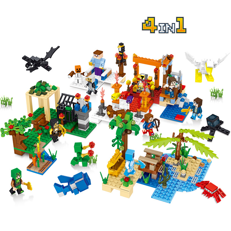 4in1 Children s building blocks toy Compatible city minecrafteds DIY figures Bricks birthday gifts birthday gifts
