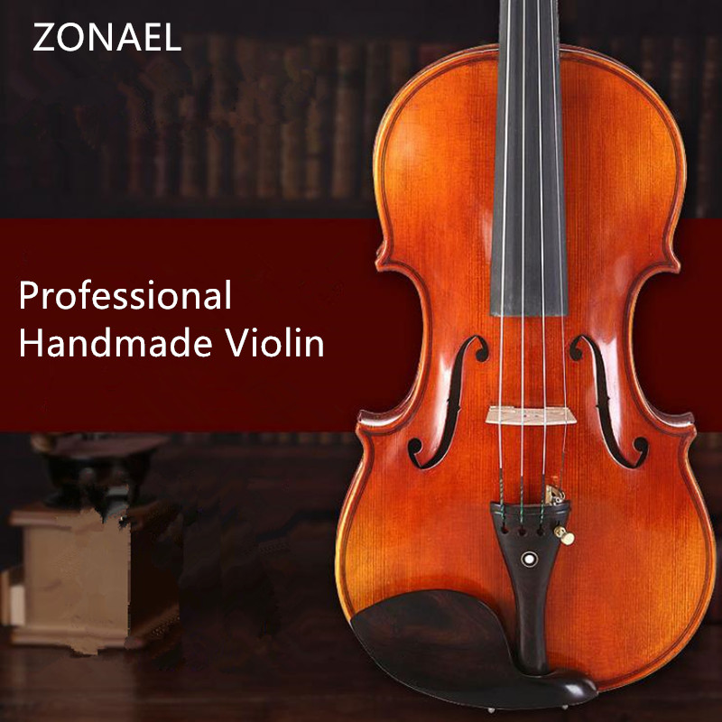 ZONAEL Solid Wood Violin  Craft Stripe Violino for Professional Maple Picea Asperata w/ Case Mute Bow Strings QV301 kinglos matt acoustic art violin ebony fittings carved flowers stuedents maple violin 4 4 violino fiddle with case bow mute