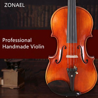 ZONAEL Solid Wood Violin Craft Stripe Violino for Professional Maple Picea Asperata w/ Case Mute Bow Strings QV301