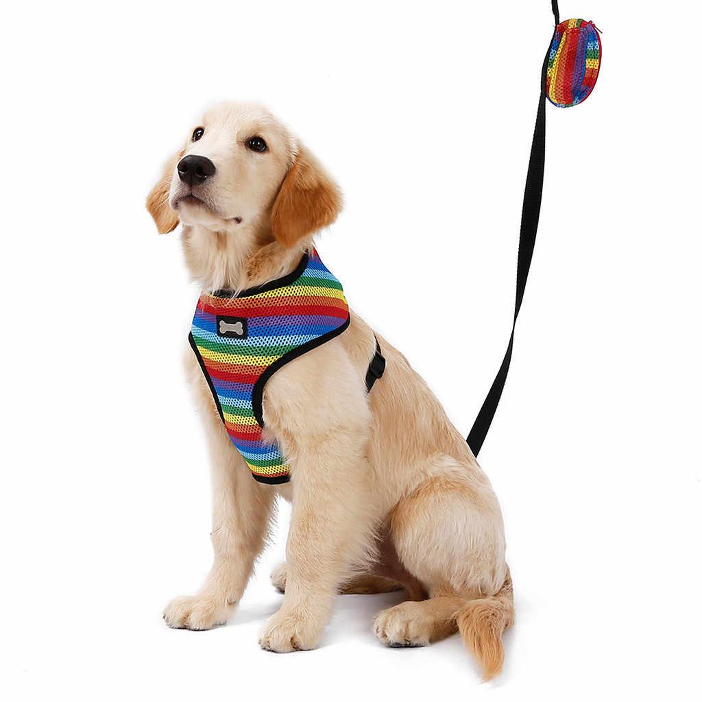Trsnser 犬の首輪多色ポリエステルペット猫犬子犬猫メッシュベストリーシュチェストストラップベルト調節可能なハーネス 19Mer18 P35