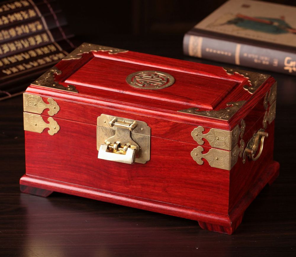 red wooden jewelry box large lockable storage cosmetic casechina mainland - Lockable Storage Box