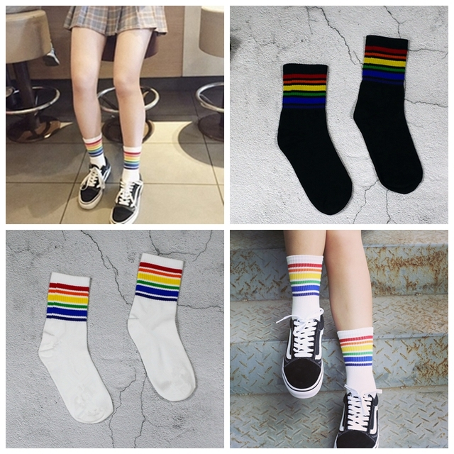 49fd96bac € 1.42 21% de DESCUENTO|Harajuku Cool Skateborad corto Arco Iris calcetines  arte mujeres moda blanco algodón Cocks Hipster dibujos animados colores ...