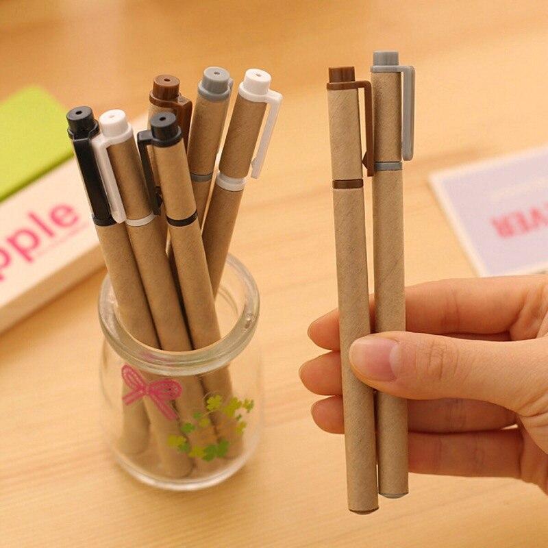 10pcs set 0 5mm gel pen simple kraft paper shell pen creative pen office supplies School
