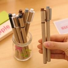 10 pçs/set 0.5mm caneta gel de papel kraft simples shell caneta criativa material de escritório estudante Da Escola suprimentos frete grátis