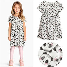 New Cute Panda Print Kids Baby Girls Clothing Dresses Princess Summer Brief Minions Short Sleeve Casual Dress 2 3 4 5 6 7 Year