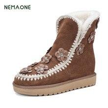 Nemaone Зимние ботинки сапоги толстые хлопчатобумажные сапоги с отворотами с бантом теплые женские сапоги женские Натуральная кожа Зимние гольфы вышитые