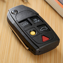 5 Buttons Auto Car Replacement Shell Part Folding Flip Key Shell For VOLVO S60 S80 V70 XC70 XC90 Uncut Blade Remote Key Case Fob jingyuqin remote auto car key shell for kia cerato uncut blade key fob case cover 3 buttons replacement folding flip
