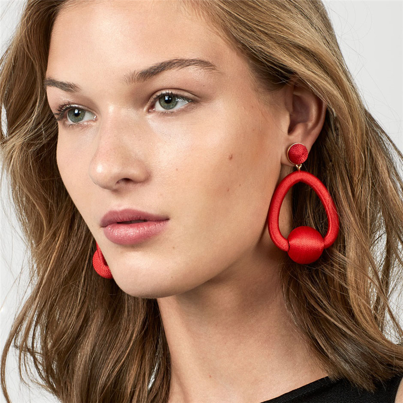 BTSETS Fashion Fringed Tassel Drop Earrings For Women Bijoux Round Statement Earring Red Colors Long Dangle Earrings Jewelry