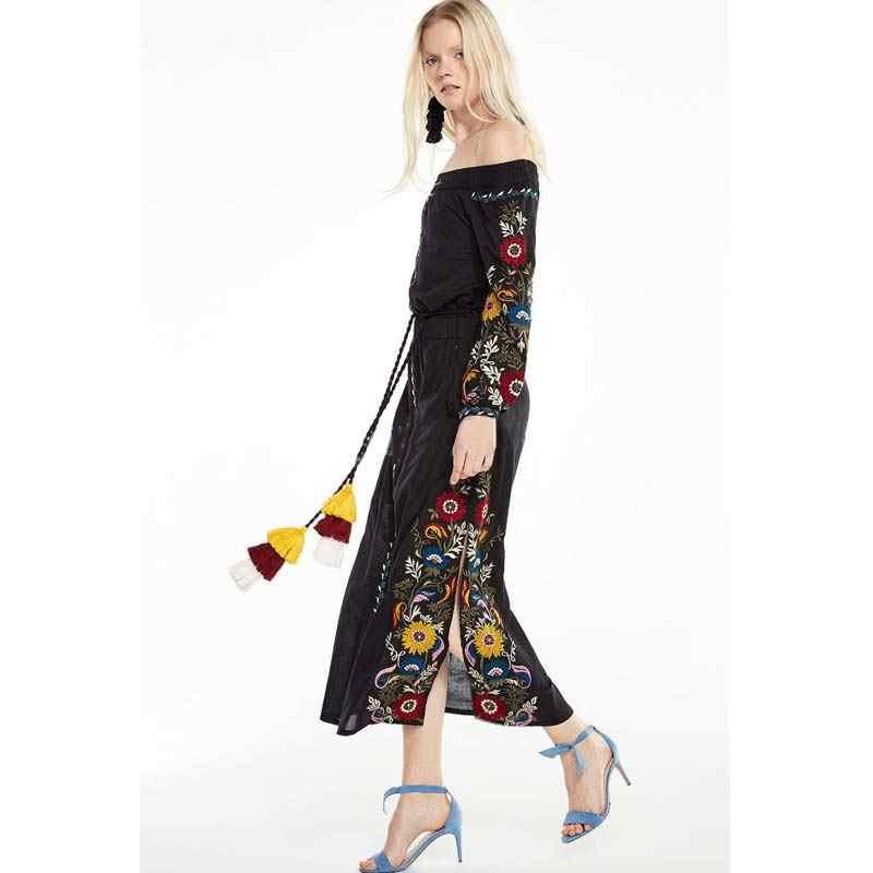 2d9f2701fc98c BOHOFREE 2018 Greece Women Slash Neck Floral EmBroidery Off Shoulder Maxi  Hippie Dress Mujer High Waist Tunic Split Dress Tassel