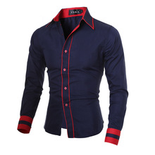 Europe New Design Spring Slim Stitching Long Sleeve Dress Shirts Mens Fashion Solid Business Casual Button Youth Brand Shirts