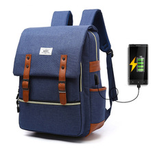 Women Backpacks USB Casual Canvas Men Backpack With Charging For The Phone Famale Famous Brand  Backpack For Teenager Travel Bag