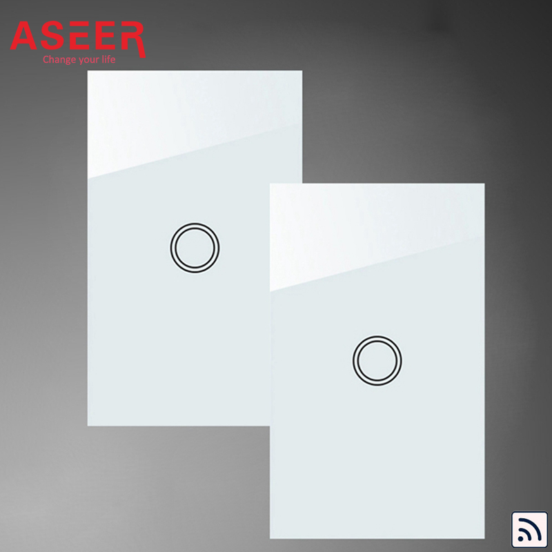 ASEER AU US Standard 1 gang 2 way intermediate Light switches 1000W White Crystal Glass double