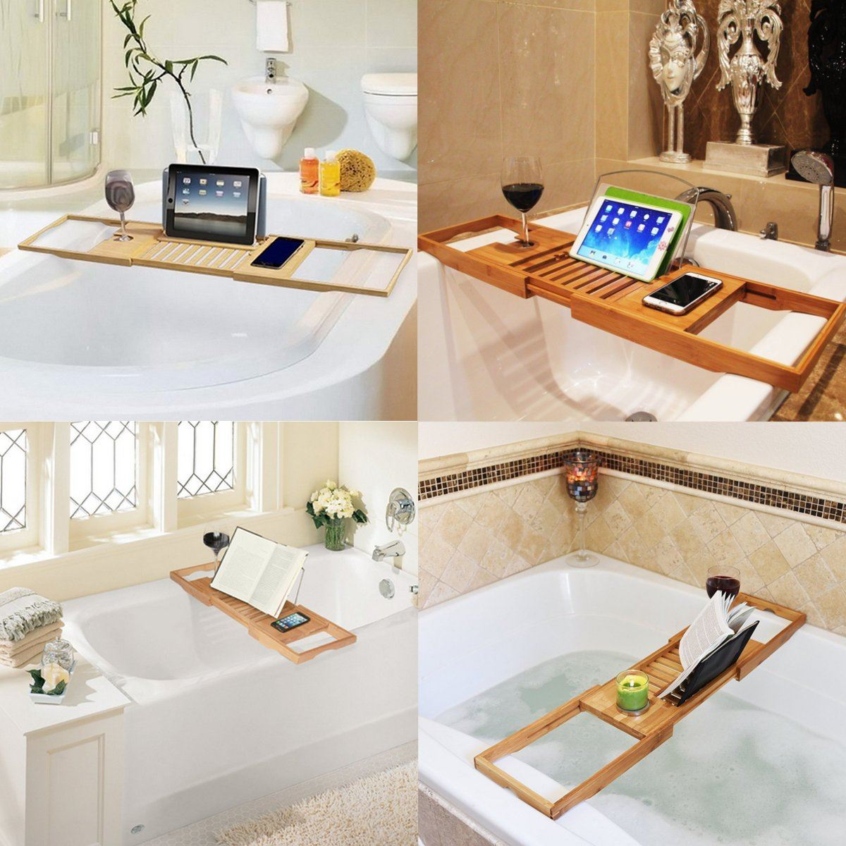 Wooden Adjustable Bath Tub Shower Tray Holder Sundries Organizer ...