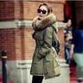 Женщины Моды Большой Меха С Капюшоном Зима 80% Белая Утка Толщиной теплый Тонкий Пуховик Куртка Женская Длинный Жакет Outcoat Верхняя Одежда JM10