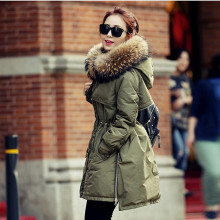 ENGAYI Women Big Fur Hooded Winter 80% White Duck Thick Warm Slim Down Coat Parka Female Long Jacket Outcoat Outerwear JM10