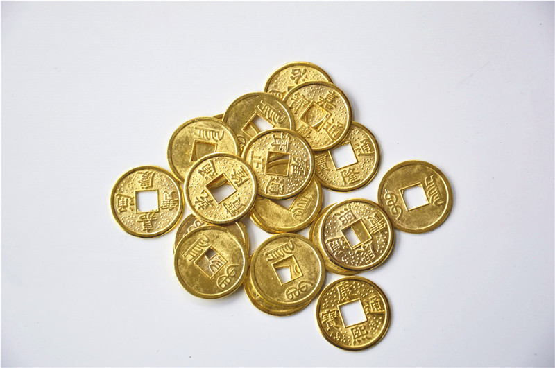 100 pces 24mm ouro chinês antigo feng shui sorte moeda boa fortuna imperadores riqueza antigo dinheiro para coleção presente