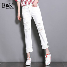 BettyKarma White Jeans Womans 2017 Hot Denim Pants Cotton Plus Size Straight Boyfriend Jeans for Women Ripped Hole Jeans Mujer
