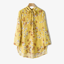 2017 summer ladies floral print silk shirt