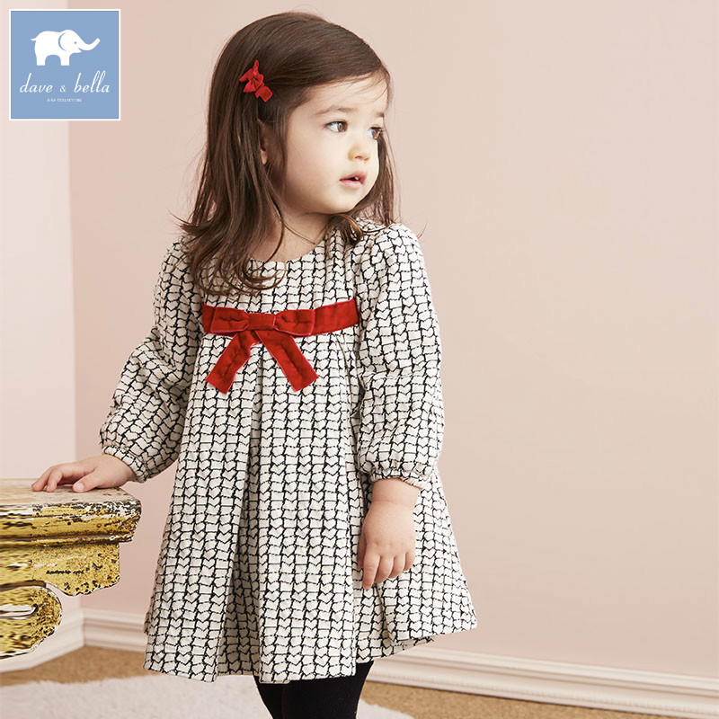 DB5992 Dave Bella Infant Baby Girl S Princess Dress Fashion Plaid Dress Toddler Children Clothes