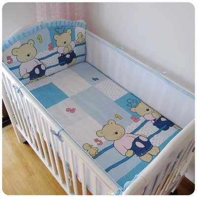 ФОТО Promotion! 5PCS Cotton Crib Bed Linen Kit Cartoon Baby Bedding Set Cot bedding Bumper (4bumpers+sheet)