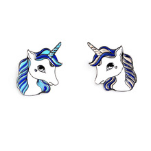 Charm Female Cute Animal Alloy Enamel Brooch Jewelry Unicorn White Horse Brooch Pins Women Clothing Backpack Accessories