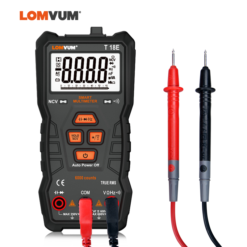 LOMVUM TRUE RMS Multimeter 6000 COUNTS High Precision Digital Multimeter NCV Smart Multimeter Auto Ranging AC/DC Flashlight