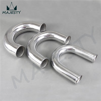 60mm 2 3/8 inch 180 Degree Aluminum Turbo Intercooler Pipe Piping Tubing Elbow 180 Degree OD:60mm 2 3/8 inch Length 300mm