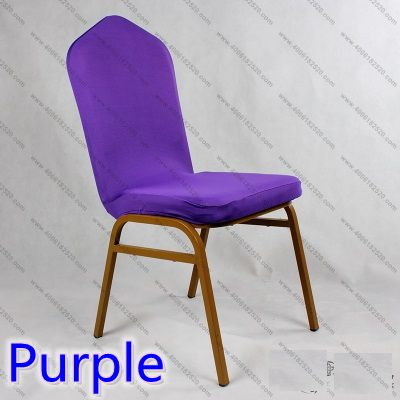 Purple Colour Lycra Chair Cover Top Cover Spandex Stretch Half Cover For  Banquet Chairs Wedding Decoration Wholesale On Sale