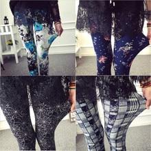 New Print Flower Leggings Leggins Plus Size Legins Guitar Plaid Thin Nine Pants Fashion Women Clothing Aptitud Trousers
