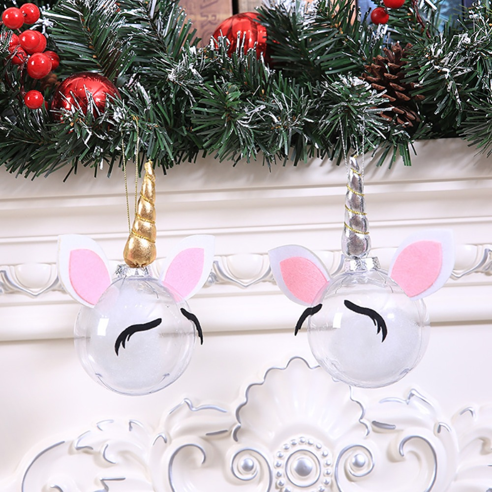 creative diy transparent christmas ball unicorn santa elf cartoon christmas ball ornaments christmas decorations for home in pendant drop ornaments from - Unicorn Christmas Decorations