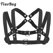 TiaoBug Men X-Shape Elastic Chest Muscle Metal Rings Harness Hot Sexy Straps Crop Top Fancy Club Party BDSM Bondage Belt Costume