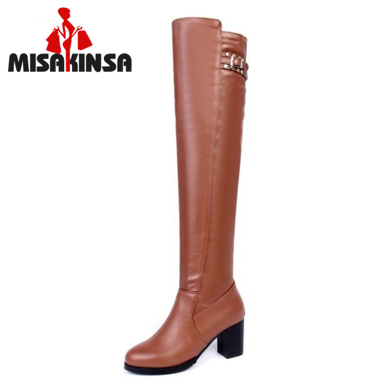 MISAKINSA Gladiator Square High Heels Knee Long Boots For Women Round Toe Shoes Platform Slim Thigh Botas Mujer Size 33-43