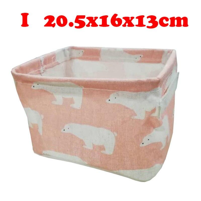 Настольный ящик для хранения с милым принтом, водонепроницаемый органайзер, хлопок, лен, корзина для хранения мелочей, шкаф, нижнее белье, сумка для хранения - Цвет: I