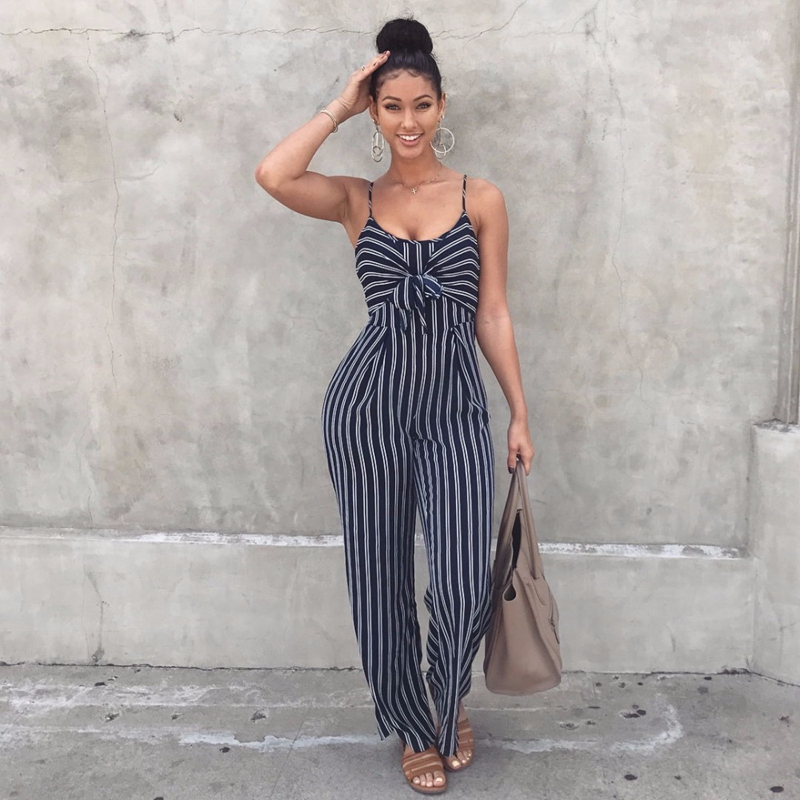 Sexy Women Navy Stripe Short Sleeves Jumpsuit Bodycon Slim Trousers Romper