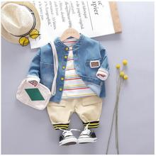 2019 Autumn Toddler Kids Boys Clothes Sets Baby Infant Clothing Suits Denim Coats T Shirt Pant Children Kids Christmas Outfit цена