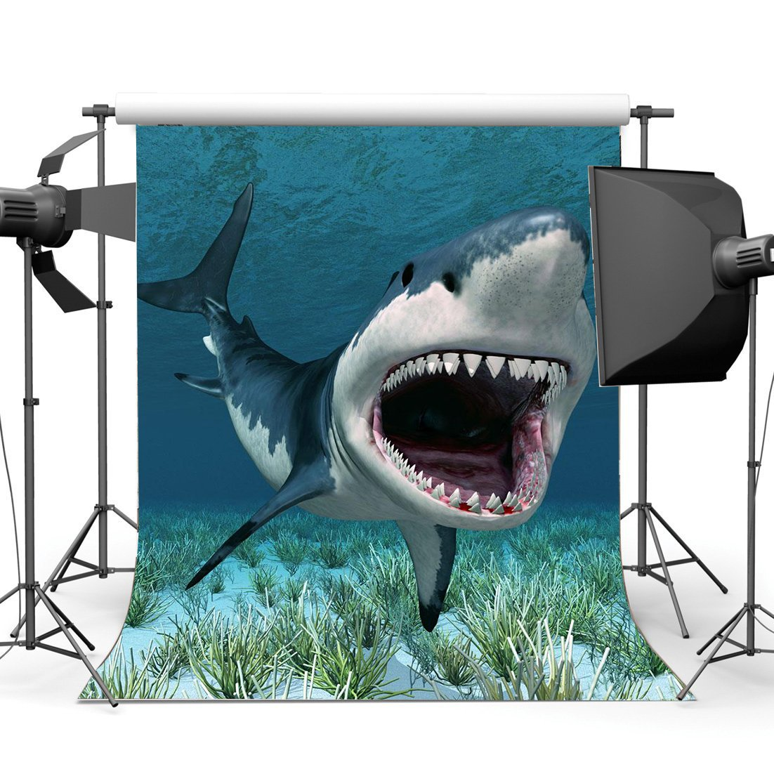 Cartoon Shark Backdrop Underwater World Green Grass Aquarium Ocean Sailing Photography Background-in Photo Studio Accessories from Consumer Electronics