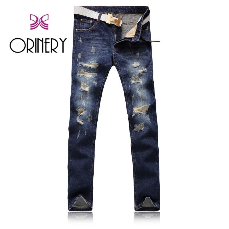 ORINERY haute qualité déchiré Jeans hommes mode Calca Masculina pleine longueur Denim Biker Jeans marque vêtements Skinny pantalon